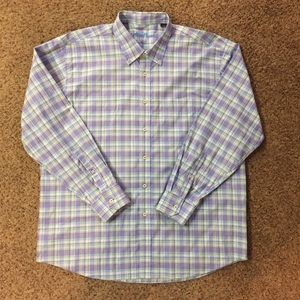Alan Flusser Purple Plaid Button Down Shirt Sz XL